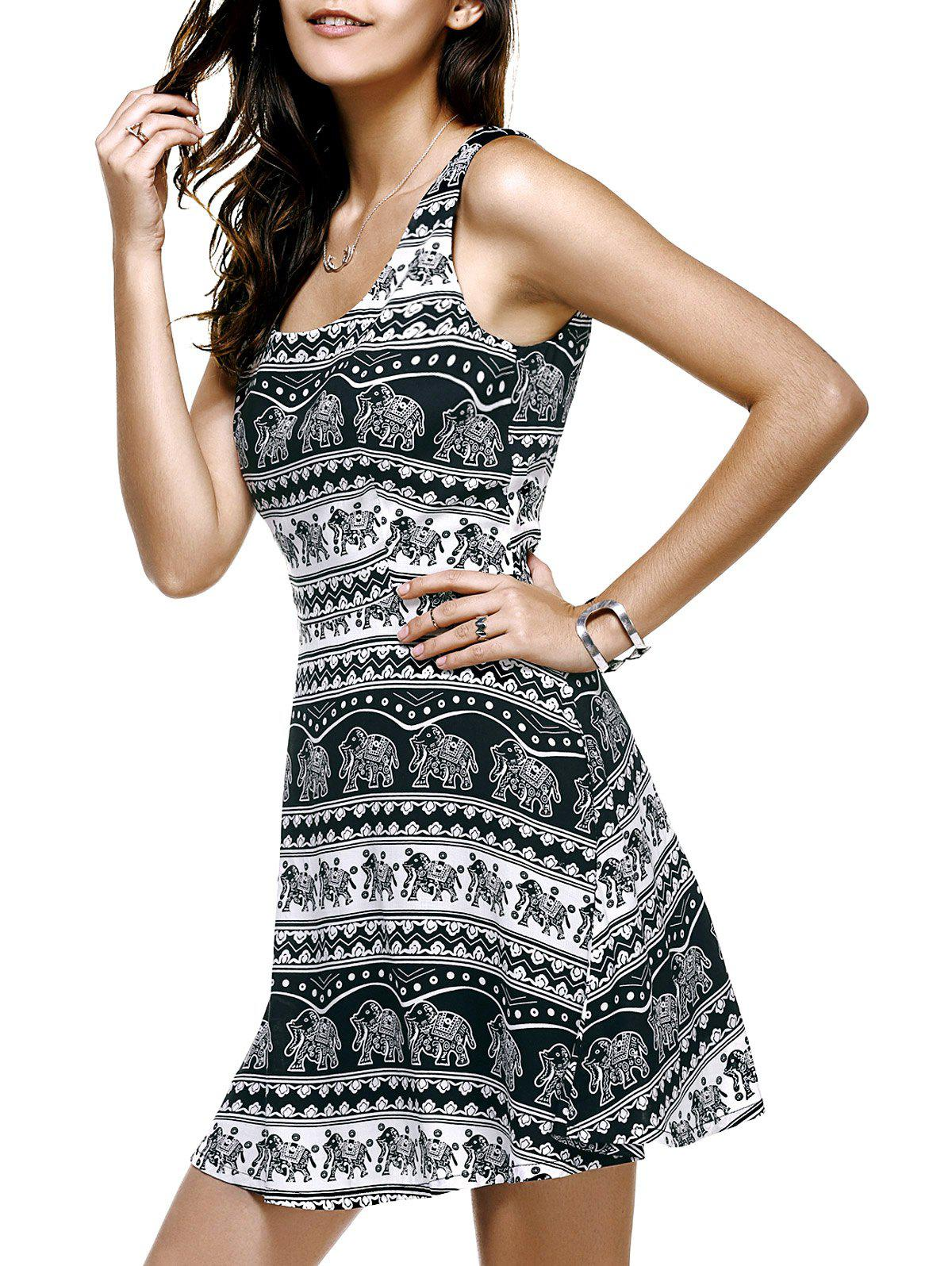Fashionable U-Neck Elephant Pattern Printing Sleeveless Dress For Women - WHITE/BLACK XL