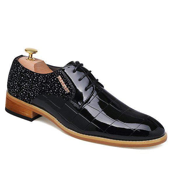 Trendy Patent Leather and Splicing Design Men's Formal Shoes