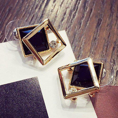 Trendy Cut Out Square Shape Faux Gem Rhinestone Stud Earrings For Women
