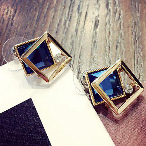 Square Shape Fake Gem Stud Earrings - SAPPHIRE BLUE
