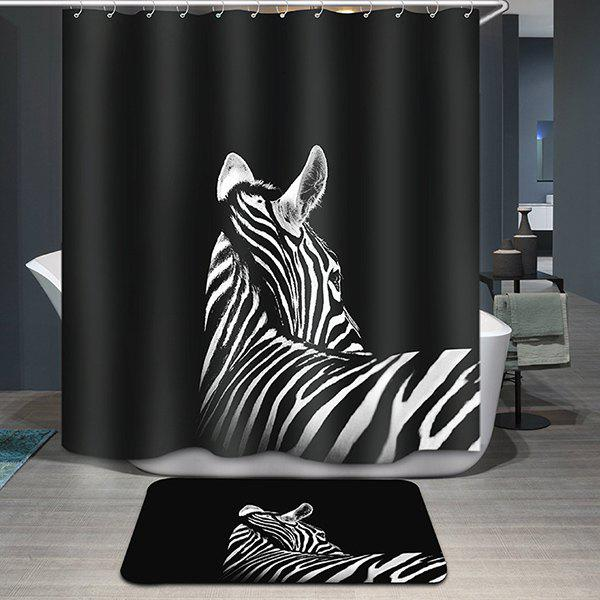 Hot Sale Black Zebra Pattern Printing Waterproof Shower Curtain - COLORMIX
