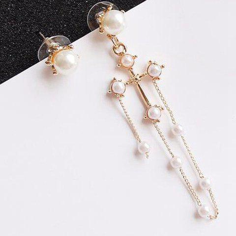 Gorgeous Cut Out Faux Pearl Gold Plated Cross Earrings For Women