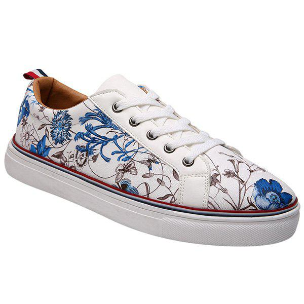 Trendy Lace Up and Floral Print Design Men's Casual Shoes - BLUE/WHITE 44
