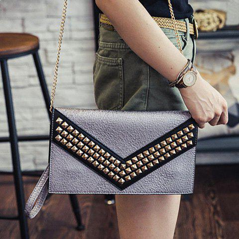 Trendy Rivet and Color Block Design Women's Clutch Bag - SILVER