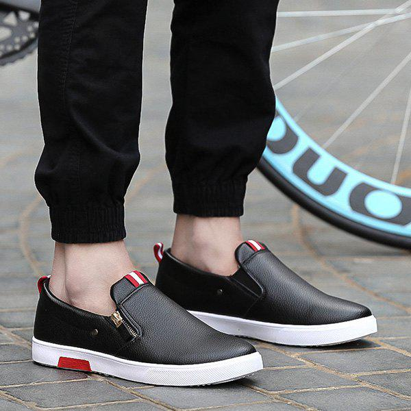 Concise PU Leather and Zip Design Men's Casual Shoes - BLACK 43