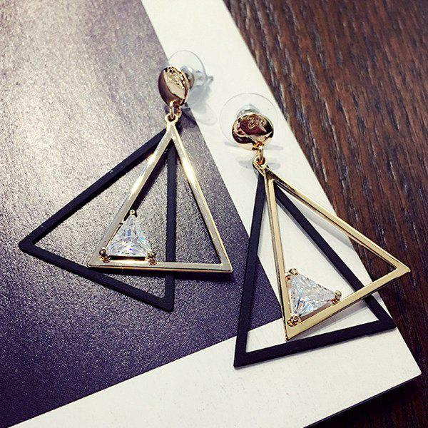 Hollow Out Overlap Triangle Rhinestone Earrings - GOLDEN