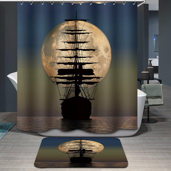 Hot Sale Moon Sailing Pattern Printing Waterproof Shower Curtain - COLORMIX