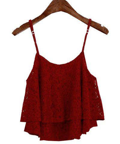 Stylish Spaghetti Strap Solid Color Lace Women's Tank Top - WINE RED ONE SIZE(FIT SIZE XS TO M)