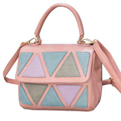 Stylish Geometric Pattern and Color Block Design Women's Tote Bag - PINK
