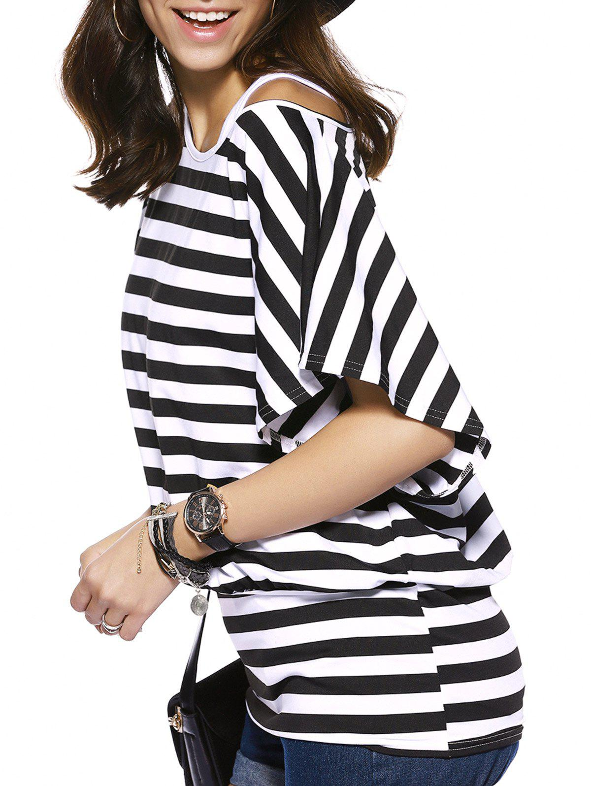 Casual Short Sleeve Striped Blouse + Long Tank Top Twinset For Women - STRIPE XL