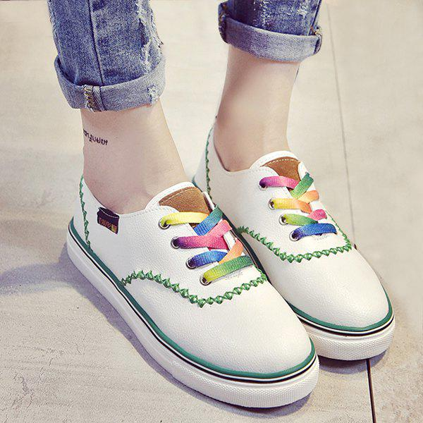 Leisure Color Block and Lace-Up Design Women's Flat Shoes