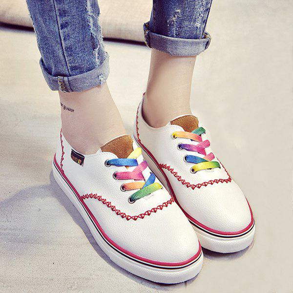 Leisure Color Block and Lace-Up Design Women's Flat Shoes - RED 39