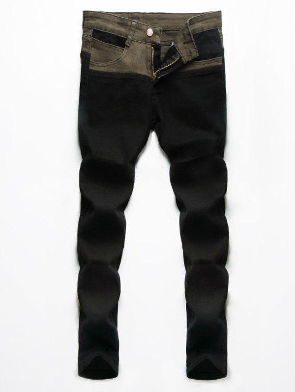 Men's Zip Fly Splice Design Denim Pants - COLORMIX 33