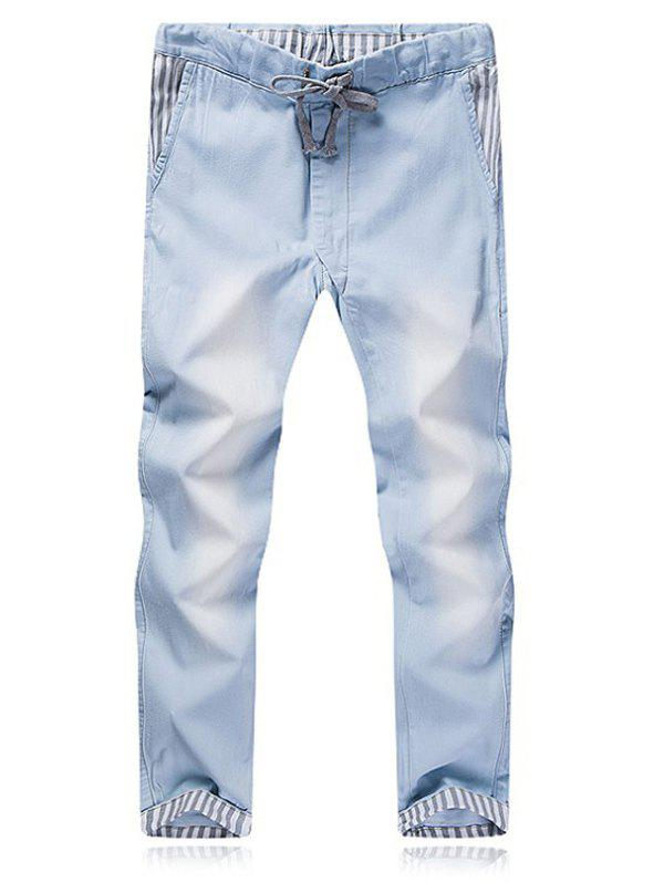 Men's Solid Color Lace Up Design Denim Pants