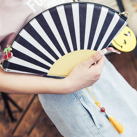 Novelty Hand Fan Shape and Color Block Design Women's Crossbody Bag - YELLOW