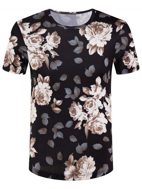 Men's Slimming Round Collar Flowers Printed T-Shirt - BLACK M