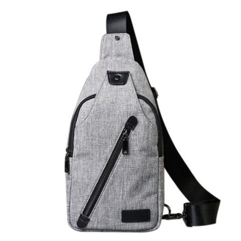 Leisure Canvas and Zip Design Men's Messenger Bag - GRAY