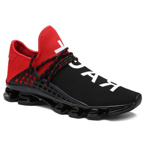 Sytlish Letter Print and Mesh Design Men's Athletic Shoes - RED/BLACK 42