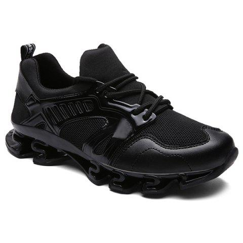Trendy Splicing and Mesh Design Men's Athletic Shoes - BLACK 43