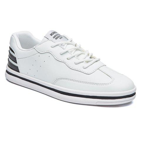 Sports Style Stripe and PU Leather Design Men's Casual Shoes - WHITE 40