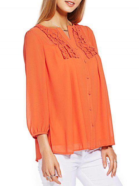 Button Ruffle Chiffon Top - ORANGE 4XL