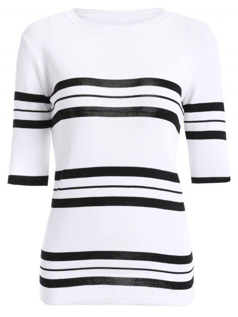 Femmes Casual  's Jewel Neck Striped Stitching couleur manches 3/4 Tricots - Blanc ONE SIZE(FIT SIZE XS TO M)