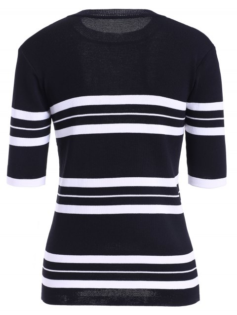 Femmes Casual  's Jewel Neck Striped Stitching couleur manches 3/4 Tricots - Noir ONE SIZE(FIT SIZE XS TO M)