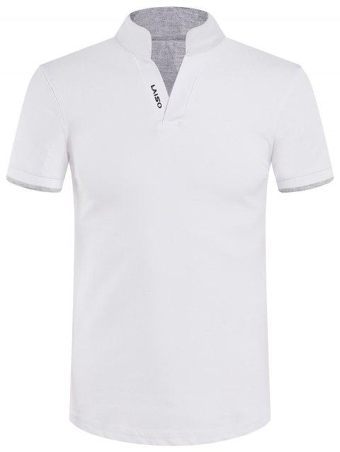 Stand Collar Slimming Solid Color Short Sleeve Polo T-Shirt - WHITE M
