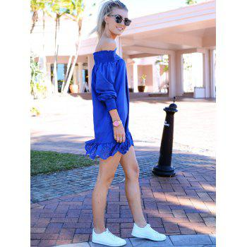 Stylish Long Sleeve Slash Collar Solid Color Laciness Women's Dress - BLUE XL