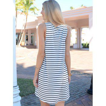 Tunic White Black Sleeveless Striped Dress - WHITE/BLACK S