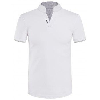 Stand Collar Slimming Solid Color Short Sleeve Polo T-Shirt