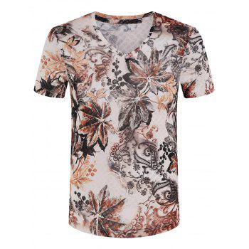 Men's Slimming V-Neck Printed T-Shirt
