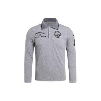 Slimming Turndown Collar Stylish Letter Embroidered Long Sleeve Polyester Men's Polo T-Shirt