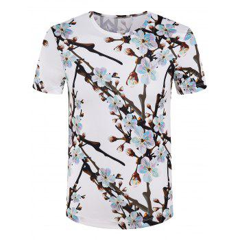 Men's Slimming Round Collar Branch Printed T-Shirt