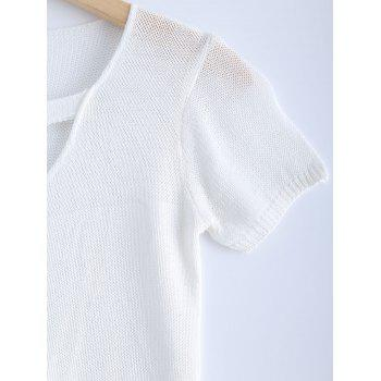 Stylish Women's Solid Color V-Neck Metallic Short Sleeves Knitwear - WHITE ONE SIZE(FIT SIZE XS TO M)