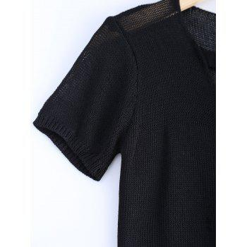 Stylish Women's Solid Color V-Neck Metallic Short Sleeves Knitwear - BLACK ONE SIZE(FIT SIZE XS TO M)
