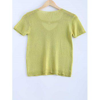 Stylish Women's Solid Color V-Neck Metallic Short Sleeves Knitwear - CELADON ONE SIZE(FIT SIZE XS TO M)