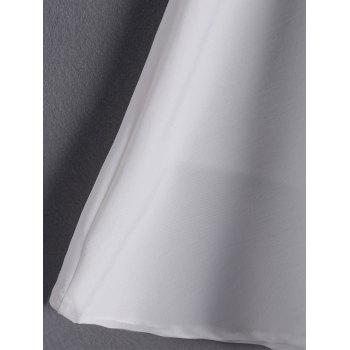 Simple Women's Solid Color Scoop Neck Cut Out Sleeveless Flare Dress - WHITE L