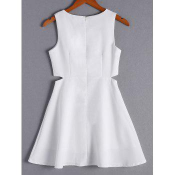 Simple Women's Solid Color Scoop Neck Cut Out Sleeveless Flare Dress - WHITE WHITE