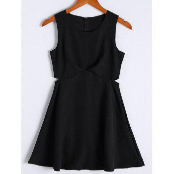 Simple Women's Solid Color Scoop Neck Cut Out Sleeveless Flare Dress - BLACK BLACK