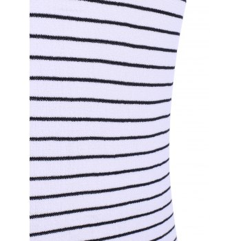 Casual Women's Jewel Neck Striped Short Sleeves Dress - WHITE ONE SIZE(FIT SIZE XS TO M)