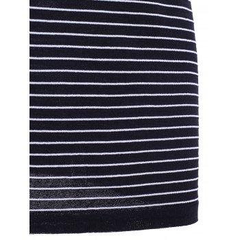 Casual Women's Jewel Neck Striped Short Sleeves Dress - BLACK ONE SIZE(FIT SIZE XS TO M)