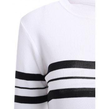 Casual Women's Jewel Neck Striped Stitching Color 3/4 Sleeve Knitwear - WHITE ONE SIZE(FIT SIZE XS TO M)