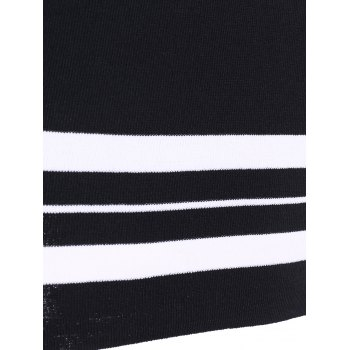 Casual Women's Jewel Neck Striped Stitching Color 3/4 Sleeve Knitwear - BLACK ONE SIZE(FIT SIZE XS TO M)