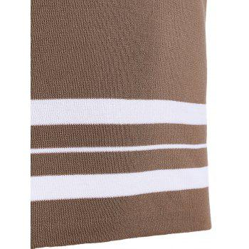 Casual Women's Jewel Neck Striped Stitching Color 3/4 Sleeve Knitwear - LIGHT COFFEE ONE SIZE(FIT SIZE XS TO M)