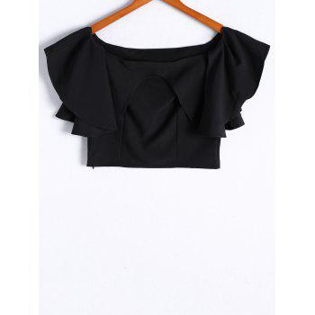 Fashionable Flounce Off-The-Shoulder Short Sleeves Top For Women