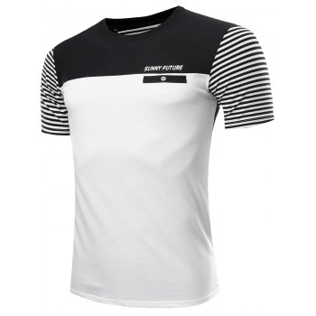 Men's Casual Color Block Striped Gym T-Shirt