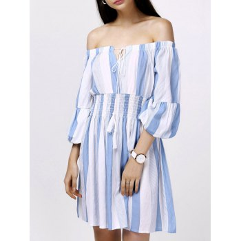 Elegant Women's Off-The-Shoulder Puff Sleeves Striped Dress