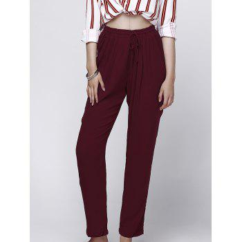 Fashionable Drawstring Pure Color High-Waisted Women's Pants
