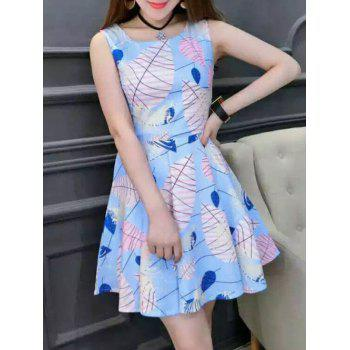 Chic Women's Scoop Neck Sleeveless Leaf Print Dress